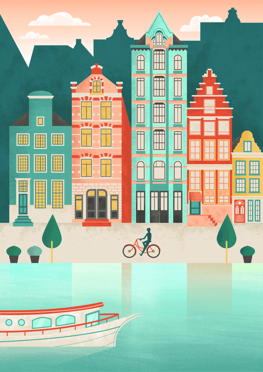 Amsterdam cityscape flat illustration